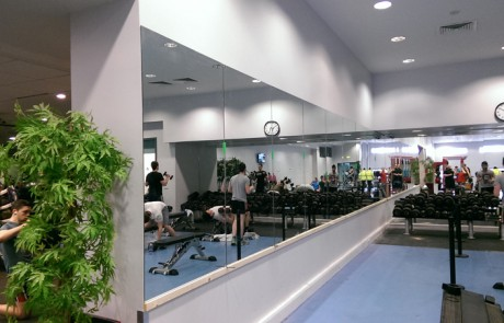 Raised Mirrors in a Gym